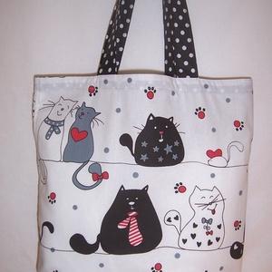 Fehér színes cica mintás táska  (textilcseppek) - Meska.hu