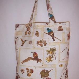 Drapp madár mintás kis táska normál füllel  (textilcseppek) - Meska.hu