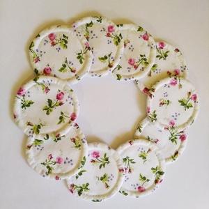Sminklemosó korong 10 db pink virág mintás , Szépségápolás, Arcápolás, Arctisztító korong, Varrás, Sminklemosó korongokat készítettem a maradék anyagokból, hogy minél jobban csökkentsük a föld szenny..., Meska