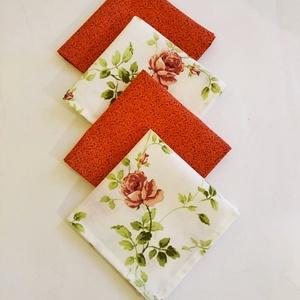 Textil szalvéta 4 db rózsa virágos , Otthon & Lakás, Konyhafelszerelés, Szalvéta, Varrás, Textil szalvétát készítettem drapp rózsa virágmintás 100% pamutvászonból.\n\nEgyedivé teheted a minden..., Meska