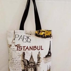 Város mintás táska , Táska & Tok, Bevásárlás & Shopper táska, Shopper, textiltáska, szatyor, Varrás, Város mintás 100 % vékony vászon anyagból készítettem ezt a táskát!.\n\nOldalán és alján dupla varráss..., Meska