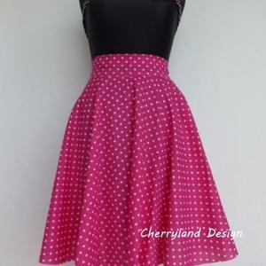 Cherryland Design Pink-Fehér pöttyös rockabilly stílusú szoknya , Táska, Divat & Szépség, Női ruha, Ruha, divat, Esküvő, Szoknya, Varrás,  Pink-Fehér pöttyös Rockabilly stílusú szoknya Klasszikus Rockabilly/Pin Up nyári szoknya. (alsószok..., Meska