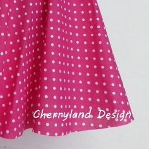 Cherryland Design Pink-Fehér pöttyös rockabilly stílusú szoknya  - Meska.hu