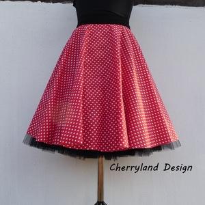 Cherryland Design Piros alapon -Fehér szíves rockabilly szoknya /Menyecske Szoknya./Alsószoknyával, Táska, Divat & Szépség, Női ruha, Ruha, divat, Szoknya, Varrás, Piros alapon -Fehér   szíves  rockabilly szoknya -Menyecske szoknya./Alsószoknyával \nRockabilly /Men..., Meska