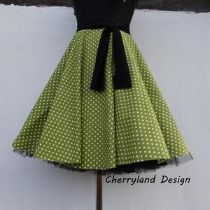 Cherryland Design Moha zöld  pöttyös rockabilly szoknya./Alsószoknyával, Táska, Divat & Szépség, Női ruha, Ruha, divat, Szoknya, Varrás, Moha Zöld pöttyös Rockabilly  szoknya./Alsószoknyával \nKlasszikus stílusú  vidám szoknya pöttyös pam..., Meska