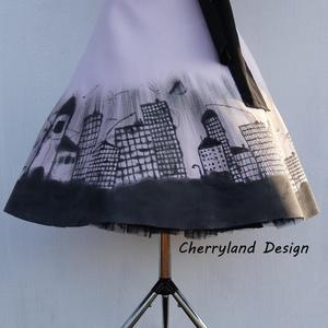 Cherryland Design Dark City/Sötét Város Kézzel Festett  Púder rózsaszín Szoknya/ALSÓSZOKNYA NÉLKÜL!, Táska, Divat & Szépség, Női ruha, Ruha, divat, Szoknya, Varrás, Festészet, Cherryland Design Dark City/Sötét Város  Púder Rózsaszín Kézzel Festett Szoknya/ ALSÓSZOKNYA NÉLKÜL!..., Meska