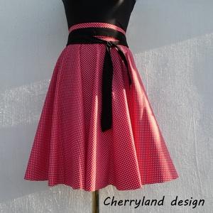 Cherryland Design Piros -Fehér kis pöttyös rockabilly/menyecske szoknya., Táska, Divat & Szépség, Női ruha, Ruha, divat, Szoknya, Varrás, Piros-Fehér   kis pöttyös Rockabilly -Menyecske szoknya.\nRockabilly /Menyecske szoknya\nKlasszikus st..., Meska