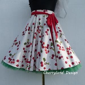 Cherryland Design Törtfehér Cseresznyés szoknya , alsószoknyával., Táska, Divat & Szépség, Női ruha, Ruha, divat, Szoknya, Varrás, Cherryland Design Törtfehér Cseresznyés szoknya , alsószoknyával.\n Rockabilly stílusú Pin Up cseresz..., Meska