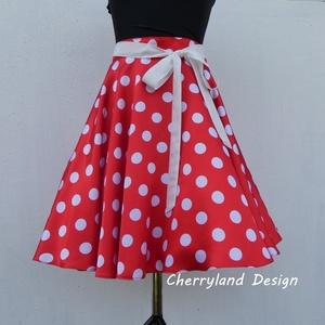 Cherryland Design( Minnie) Rockabilly Pin Up stílusú piros alapon fehér pöttyös szoknya/alsószoknyával., Táska, Divat & Szépség, Női ruha, Ruha, divat, Szoknya, Varrás, (Minnie) Rockabilly Pin Up Stilusú piros alapon fehér Pöttyös Szoknya/Alsószoknyával.\nPöttyös Szatén..., Meska