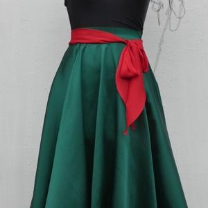 Cherryland Design Zöld  szatén szoknya  (textilmester) - Meska.hu