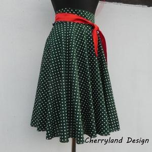 Cherryland Design Zöld  alapon fehér  pöttyös rockabilly szoknya./ALSÓSZOKNYA NÉLKÜL!/, Táska, Divat & Szépség, Női ruha, Ruha, divat, Szoknya, Varrás, Zöld alapon fehér  pöttyös rockabilly  szoknya/ALSÓSZOKNYA NÉLKÜL/\nKlasszikus stílusú  vidám szoknya..., Meska