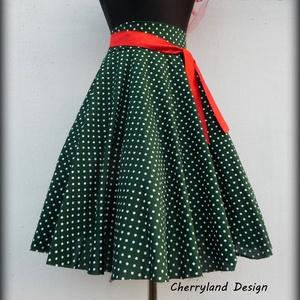 Cherryland Design Zöld  alapon fehér pöttyös rockabilly szoknya./Alsószoknyával, Táska, Divat & Szépség, Női ruha, Ruha, divat, Szoknya, Varrás,  Zöld alapon fehér pöttyös Rockabilly  szoknya./Alsószoknyával \nKlasszikus stílusú  vidám szoknya pö..., Meska