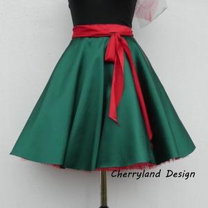 Cherryland Design  Zöld szatén szoknya /Alsószoknyával.., Táska, Divat & Szépség, Női ruha, Ruha, divat, Szoknya, Varrás, Cherryland Design  Zöld szatén szoknya /alsószoknyával..\nRockabilly stílusú körszoknya, zöld szaténb..., Meska