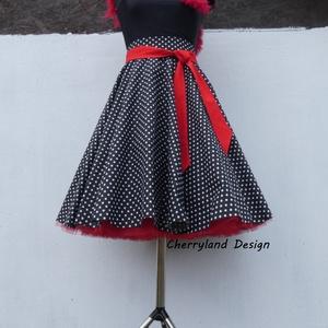 Cherryland Design Fekete-Fehér  pöttyös rockabilly szoknya./Alsószoknyával, Táska, Divat & Szépség, Női ruha, Ruha, divat, Szoknya, Varrás, Fekete-Fehér Pöttyös Szoknya , Alsószoknyával.Rockabilly Pin Up stílusú pöttyös szoknya. \nPöttyös pa..., Meska