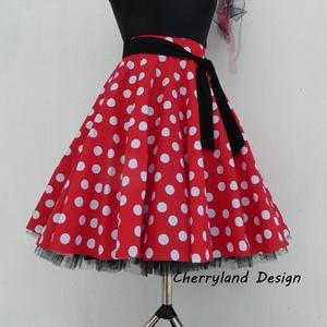Cherryland Design Minnie Rockabilly  piros alapon fehér pöttyös szoknya /Tüll Alsószoknyával, Táska, Divat & Szépség, Női ruha, Ruha, divat, Esküvő, Szoknya, Varrás, Minnie Rockabilly piros alapon fehér  pöttyös szoknya Tüll Alsó szoknyával\nKlasszikus  stílusú  vidá..., Meska