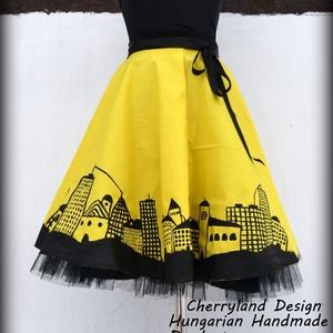 Cherryland Design Dark City/Sötét Város  Sárga  Szoknya/Alsószoknya, Táska, Divat & Szépség, Ruha, divat, Női ruha, Szoknya, Varrás, Festészet, Cherryland Design Dark City/Sötét Város Kézzel Festett Sárga Szoknya/ Tüll Alsószoknya\n\nKézzel feste..., Meska