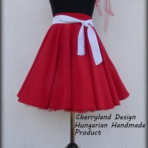 Cherryland Design Piros Nehézselyem   Rockabilly stílusú szoknya /Alsószoknya, Ruha & Divat, Szoknya, Női ruha, Varrás, Meska