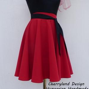 Cherryland Design Piros Nehézselyem  Rockabilly stílusú szoknya , Ruha & Divat, Női ruha, Szoknya, Varrás, Meska
