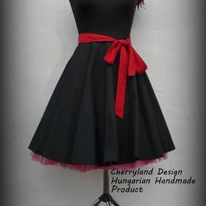 Cherryland Design Fekete Taft szoknya alsószoknyával.., Ruha & Divat, Női ruha, Szoknya, Varrás, Meska