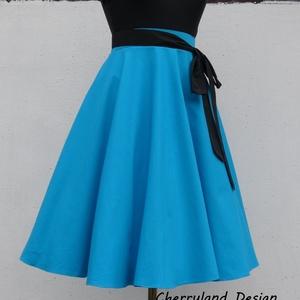 Kék  Rockabilly stílusú szoknya /Alsószoknya nélkül, Táska, Divat & Szépség, Ruha, divat, Női ruha, Esküvő, Szoknya, Varrás, Kék  Rockabilly stílusú szoknya.\nEgyedi méretek alapján , megrendelésre készül.\nA szoknya elkészítés..., Meska