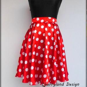 Minnie  Rockabilly Pin Up stílusú pöttyös szoknya ., Szoknya, Női ruha, Ruha & Divat, Varrás, Minnie Mouse jelmez,\nKlasszikus  stílusú  vidám szoknya.\nPöttyös Szaténból készült,  szatén széles d..., Meska
