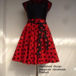 Cherryland Design Katica Piros alapon fekete Pöttyös Rockabilly szoknya., Szoknya, Női ruha, Ruha & Divat, Varrás, Cherryland Design Katica Piros alapon fekete pöttyös rockabilly szoknya. \n\nRockabilly Pin Up stílusú..., Meska