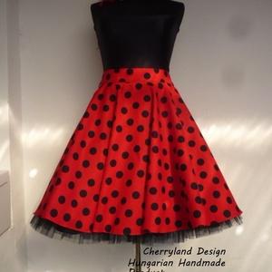 Cherryland Design Katica Piros alapon fekete Pöttyös Rockabilly szoknya./Alsószoknya, Ruha & Divat, Szoknya, Női ruha, Varrás, Meska