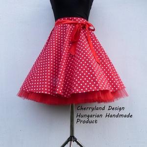 Cherryland Design Piros-Fehér pöttyös rockabilly szoknya./Alsószoknyával, Ruha & Divat, Női ruha, Szoknya, Varrás, Meska