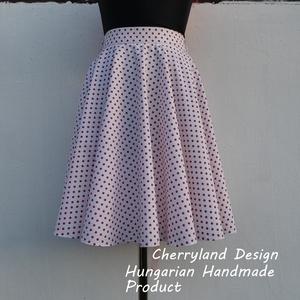 Cherryland Design Fehér alapon piros pöttyös rockabilly szoknya., Ruha & Divat, Női ruha, Szoknya, Varrás, Meska