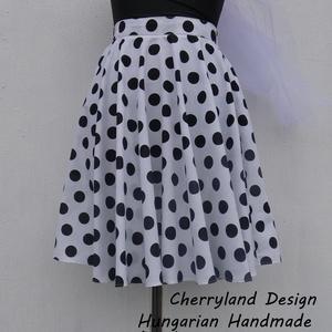 Cherryland Design Fehér alapon fekete Pöttyös Rockabilly szoknya., Ruha & Divat, Női ruha, Szoknya, Varrás, Meska