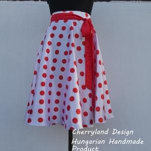 Cherryland Design (Túró Rudi ) Fehér- Piros Pöttyös Szoknya , Ruha & Divat, Női ruha, Szoknya, Varrás, Cherryland Design (Túró Rudi ) fehér alapon piros pöttyös szoknya leírása\n(Túró Rudi) Rockabilly Pin..., Meska