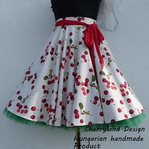 Cherryland Design Törtfehér Cseresznyés szoknya , alsószoknyával., Ruha & Divat, Női ruha, Szoknya, Varrás, Meska