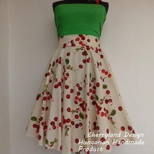 Cherryland Design Törtfehér Cseresznyés szoknya., Ruha & Divat, Női ruha, Szoknya, Varrás, Klasszikus Rockabilly stílusú Pin Up cseresznyés szoknya.\nEgyedi méretek alapján , megrendelésre kés..., Meska