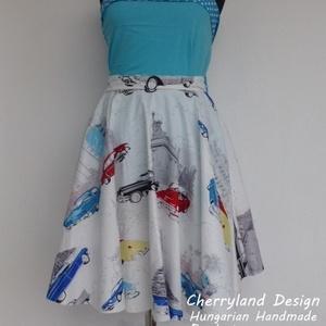"""Cherryland Design \""""Cadillac\"""" Rockabilly szoknya., Táska, Divat & Szépség, Ruha, divat, Női ruha, Szoknya, Varrás, Cherryland Design \""""Cadillac\"""" Rockabilly szoknya.\nKlasszikus Rockabilly stílusú  vidám szoknya. Pamut..., Meska"""