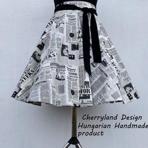 Cherryland Design Újságmintás  rockabilly szoknya /Alsószoknyával, Táska, Divat & Szépség, Ruha, divat, Női ruha, Szoknya, Varrás, Cherryland Design Újságmintás  rockabilly szoknya /Alsószoknyával\n\nRockabilly,  Pin Up Klasszikus st..., Meska