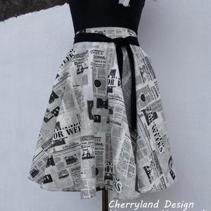 Cherryland Design Újságmintás  rockabilly stílusú szoknya , Ruha & Divat, Női ruha, Szoknya, Varrás, Meska