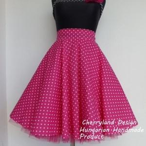 Cherryland Design Pink-Fehér   pöttyös rockabilly szoknya./Alsószoknyával, Táska, Divat & Szépség, Ruha, divat, Női ruha, Szoknya, Varrás, Pink-Fehér   Pöttyös Rockabilly szoknya./Alsószoknyával\n\nKlasszikus stílusú  vidám szoknya.Pöttyös p..., Meska