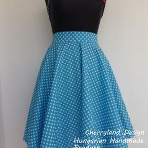 Cherryland Design Kék-Fehér  pöttyös rockabilly szoknya., Ruha & Divat, Szoknya, Női ruha, Varrás, Meska