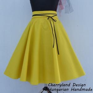 Cherryland Design Sárga pamutvászon   Rockabilly stílusú szoknya /Alsószoknya, Ruha & Divat, Szoknya, Női ruha, Varrás, Meska