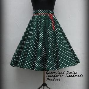 Cherryland Design Zöld  alapon fehér pöttyös rockabilly szoknya./Alsószoknyával, Táska, Divat & Szépség, Ruha, divat, Női ruha, Szoknya, Varrás,  Zöld alapon fehér pöttyös Rockabilly  szoknya./Alsószoknyával \nKlasszikus stílusú  vidám szoknya pö..., Meska