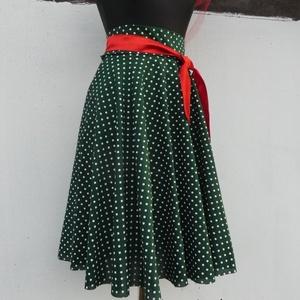 Cherryland Design Zöld  alapon fehér  pöttyös rockabilly szoknya./ALSÓSZOKNYA NÉLKÜL!/, Táska, Divat & Szépség, Ruha, divat, Női ruha, Szoknya, Varrás, Zöld alapon fehér  pöttyös rockabilly  szoknya/ALSÓSZOKNYA NÉLKÜL/\nKlasszikus stílusú  vidám szoknya..., Meska