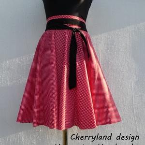 Cherryland Design Piros -Fehér kis pöttyös rockabilly/menyecske szoknya., Ruha & Divat, Szoknya, Női ruha, Varrás, Meska