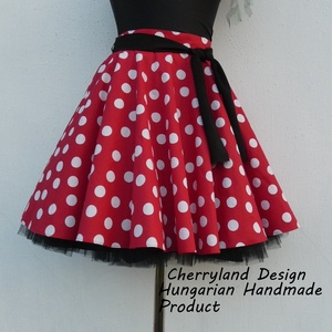 Cherryland Design Minnie Rockabilly  piros alapon fehér pöttyös szoknya /Tüll Alsószoknyával, Ruha & Divat, Szoknya, Női ruha, Varrás, Meska