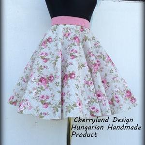 Cherryland Design Vintage virágmintás rockabilly szoknya. (Alsószoknya nélkül), Ruha & Divat, Női ruha, Szoknya, Varrás, Meska