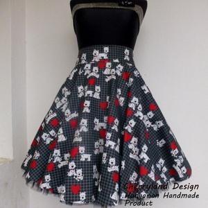 Cherryland Design Szives-kutyás  szoknya /Alsószoknyával., Ruha & Divat, Női ruha, Szoknya, Varrás, Cherryland Design  rockabilly szoknya.\nUTOLSÓ DARAB, ezért a szoknya egy megadott méretre tud elkész..., Meska