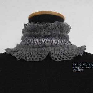 Szürke Csipke nyakpánt., Ruha & Divat, Sál, Sapka, Kendő, Téli nyaklánc, Varrás, Szürke Csipke nyakpánt, viktoriánus-gothic stílusú gallér szatén kötővel - Steampunk nyakpánt.\n\n-Sza..., Meska