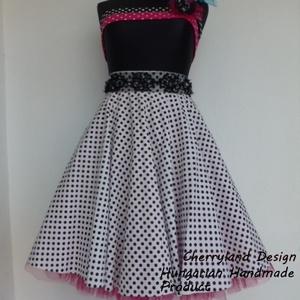Cherryland Design Fehér -Fekete kis pöttyös rockabilly szoknya./Alsószoknyával, Ruha & Divat, Női ruha, Szoknya, Varrás, Meska