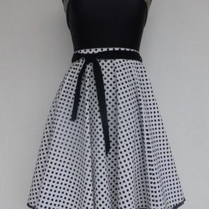 Cherryland Design Fehér-Fekete Kispöttyös rockabilly szoknya, Ruha & Divat, Női ruha, Szoknya, Varrás, Meska