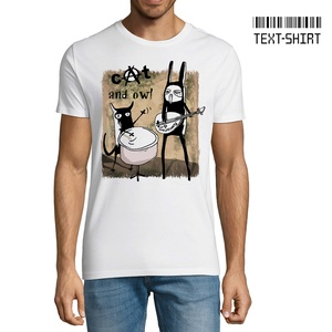Cat and Owl (macska és bagoly) / Rontó Lili design, Ruha & Divat, Férfi ruha, Póló, Fotó, grafika, rajz, illusztráció, Mindenmás, A grafika Rontó Lili képzőművész munkája.\nKiemelkedő pólóminőség és a legkorszerűbb eljárással készü..., Meska