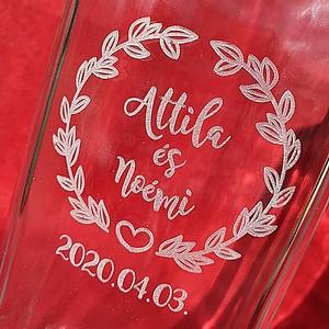 Neves pálinkásüveg, Nászajándék, Emlék & Ajándék, Esküvő, Gravírozás, pirográfia, Üvegművészet, Egyedileg gravírozott pálinkásüveg házassági évfordulóra, lakásavatóra, legény- és leánybúcsúra, név..., Meska